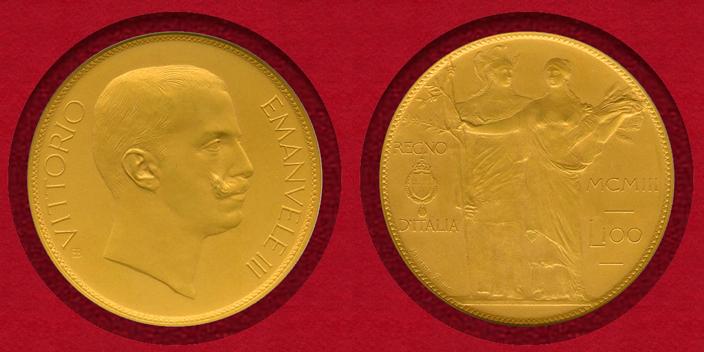 注目の新着コイン:イタリア 1903R 100リレ試鋳貨
